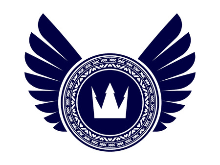 crown wings: Heraldic design with wings and crown
