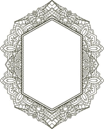 sacramental: Unusual vertical hexagon rich decorated floral decorative frame with empty space for your design or text. illustration in East mandala style.