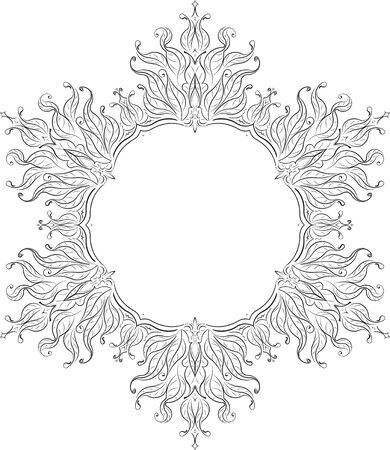 sacramental: Unusual hexagon rich decorated floral decorative frame with empty space for your design or text. illustration in East mandala style.