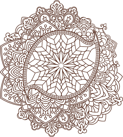used ornament: Beautiful vintage paisley ornament, mandala can be used as a greeting card or decor for henna tattoo Illustration
