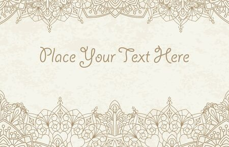 mendi: Decorative background with henna elements in East mandala style for text design or invitation card.