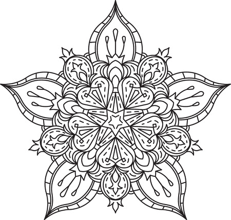 Abstract vector black lace design in mono line style - five-finger mandala, ethnic decorative element. Can be used as anti stress therapy.
