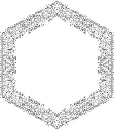 Insolito esagono ricco decorato cornice decorativa floreale con spazio vuoto per la progettazione o il testo. Illustrazione vettoriale in stile mandala orientale. Vettoriali