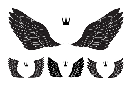pairs: Set of four pairs of wings with crowns. Vector illustration.