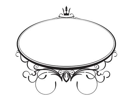 Elegante stile classico cornice ovale con corona. Illustrazione vettoriale.