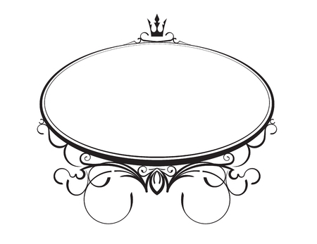 Elegant classic style oval frame with crown. Vector illustration.