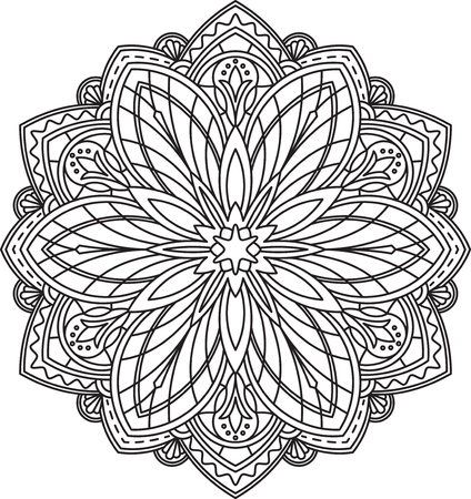 mendi: Abstract vector black round lace design in mono line style - mandala, ethnic decorative element.