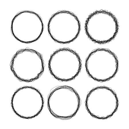 marcos redondos: Conjunto de marcos de vectores estilo negro 9 de alambre ronda grunge Vectores
