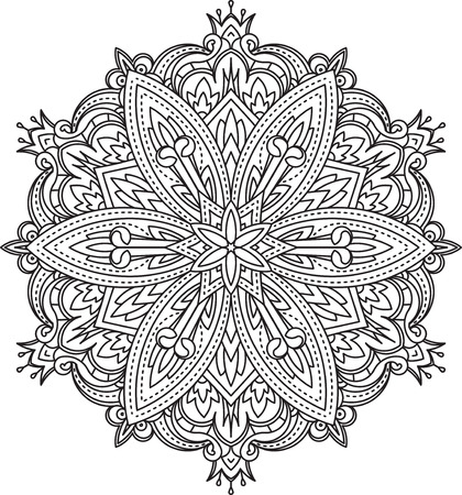 serviette: Abstract vector black round lace design in mono line style - mandala, ethnic decorative element.