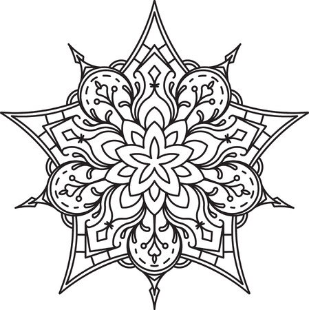 mendi: Abstract vector black lace design in mono line style - five-finger mandala, ethnic decorative element. Can be used as anti stress therapy.
