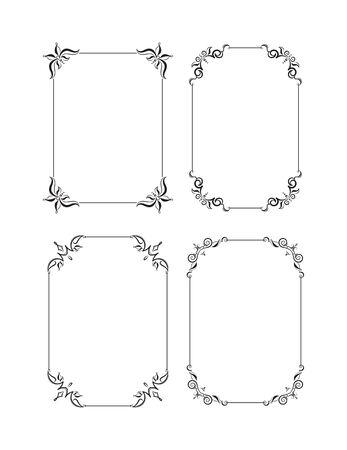 Set of four decorative vector black frames for text design, invitation, diploma Vektorové ilustrace