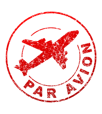 par avion: Par avion grunge style vector rubber stamp with silhouette of flying airplane