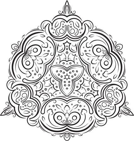 Estratto insolito triangolo rotondo mandala arredamento merletto rotondo floreale per la progettazione o un tatuaggio