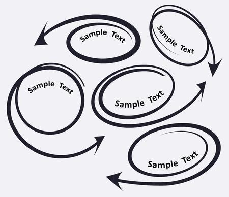 flechas curvas: Conjunto de 5 coiled curvó flechas iconos para texto o diseño publicitario. Ilustración vectorial