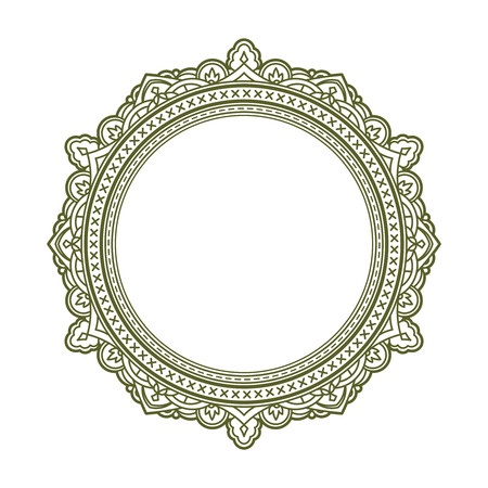 Vintage stijl decoratief rond frame. Vector illustratie.