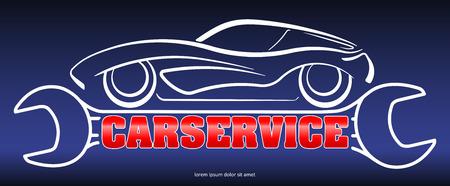 Auto service - blauw, rood en wit ontwerp met de samenstelling van een silhouet van de auto op gestileerde sleutel en bijschrift Carservice