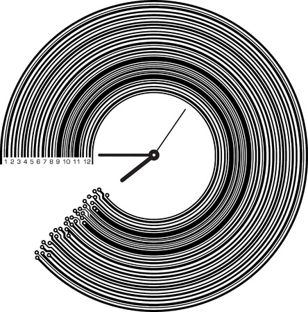 pcb: Conceptual clock with elements of PCB or barcode. High tech illustration. Illustration