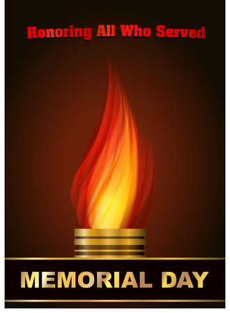 Memorial day design with Eternal flame and gold caption
