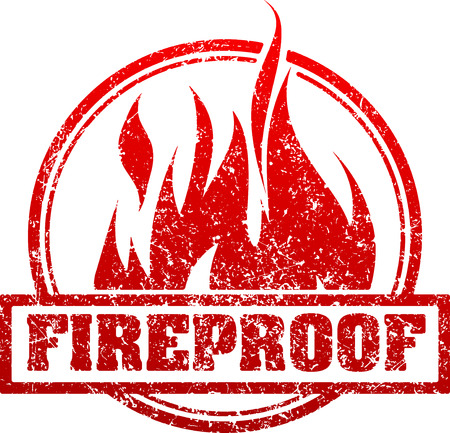 fireproof: Abstract red grunge rubber stamp with caption FIREPROOF and blazing fire Illustration