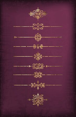 noble: A set of cracked old-style gold dividers on a noble dark purple background