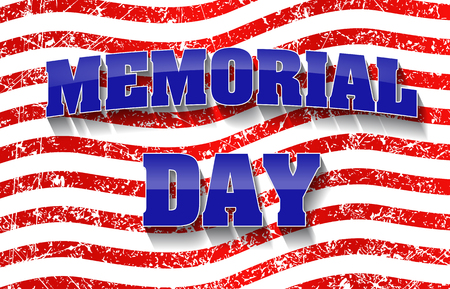 Memorial Day design with grunge red stipes background. Stock Illustratie
