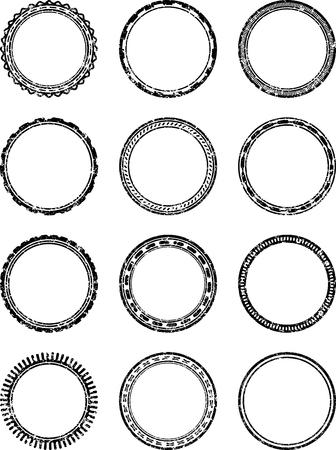 dozen: Set of dozen grunge vector templates for rubber stamps