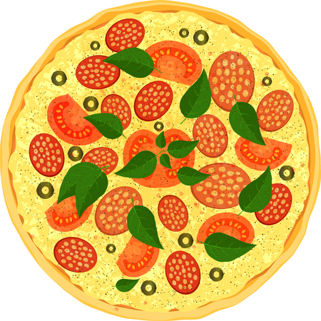 salami slices: Colorful fresh pizza with salami slices of tomato, olive and leaves of basil.
