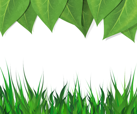 empty space for text: Horizontal background with green leaves and grass border and empty space for text.
