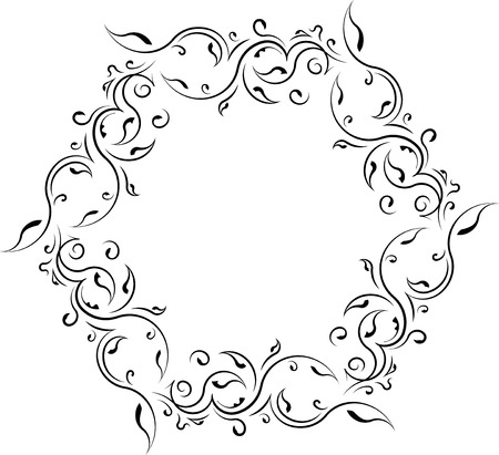 vignette: Unusual lace floral frame, decorative element with empty place for your text.
