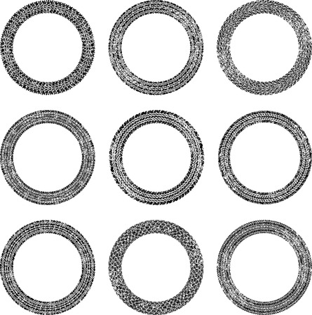 tire imprint: Set of nine round frames in tire traces style