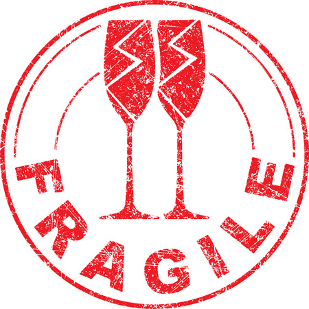 pair of glasses: Fragile red grunge rubber stamp with pair of broken wine glasses