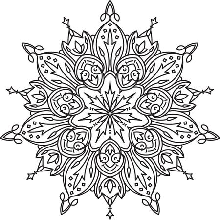 mendi: Abstract vector black lace design in mono line style - septangular mandala, ethnic decorative element.