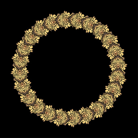 compliments: Round vector golden heavy thick frame on a dark background for your design.