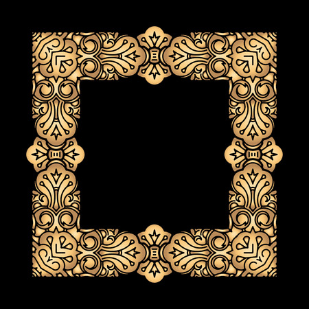 compliments: Square vector golden heavy thick frame on a black background for your design. Illustration