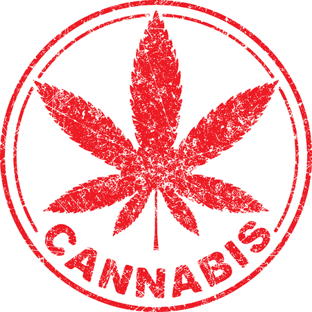 inscribed: Cannabis or marijuana red leaf grunge design  inscribed in a circle, template for vector rubber stamp.