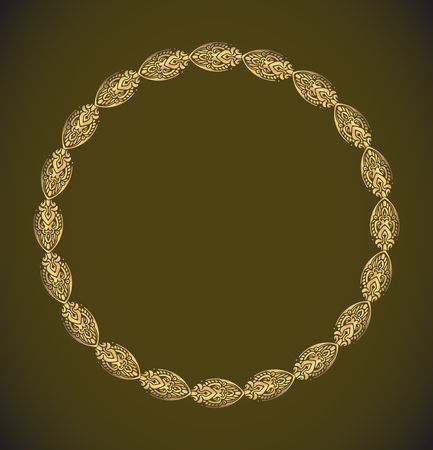Round vector golden heavy thick frame on a dark background for your design.