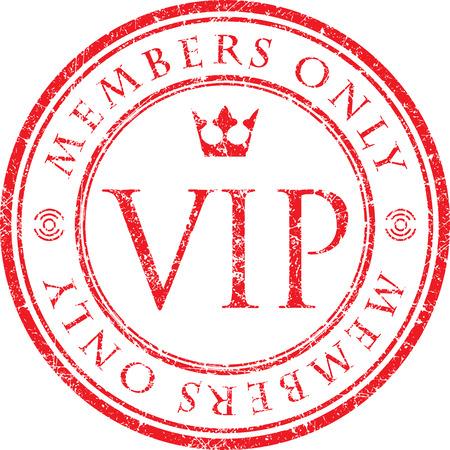 VIP. Solo miembros. sello de caucho rojo del estilo del grunge del vector con la corona.
