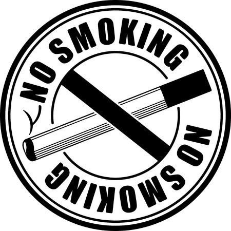 crossed cigarette: No smoking black round sign with crossed cigarette Illustration