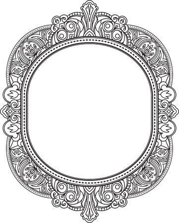 Rich décoré motif ovale inhabituelle de cadre. Vector décoratif fond dans le style d'origine indienne pour livre de coloriage, conception de textile, des sacs, des emballages de produits, brochures, dépliants.