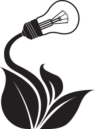 lighting bulb: Conceptual green energy icon with floral branch and lighting bulb