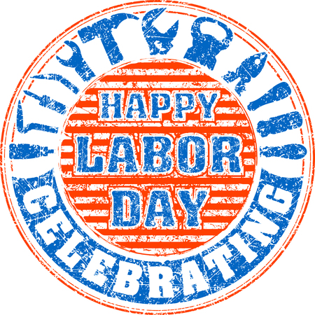 labor strong: Happy labor day celebrating colorful rubber stamp with striped background and silhouettes of workers tools: hammer, screwdriver, pliers, file, soldering iron, pliers, awl, etc.