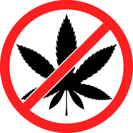 illegal zone: Prohibition sign icon No cannabis vector illustration with a leaf of marijuana, marihuana