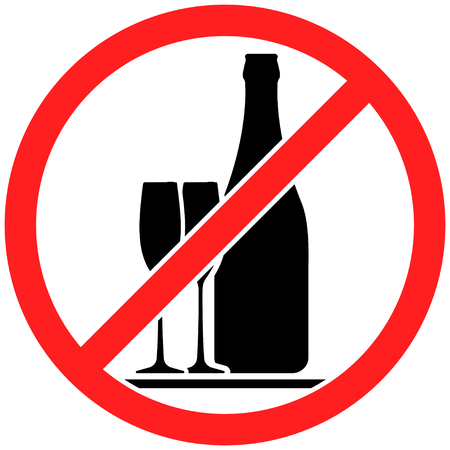 spirituous beverages: Prohibition sign icon no drinking alcohol with bottle and pair of wine glasses vector illustration