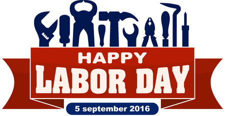 labor strong: Happy labor day celebrating banner with silhouettes of workers tools: hammer, screwdriver, pliers, file, soldering iron, pliers, awl, etc.