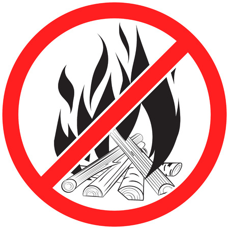 Prohibition sign icon no  bonfire vector illustration