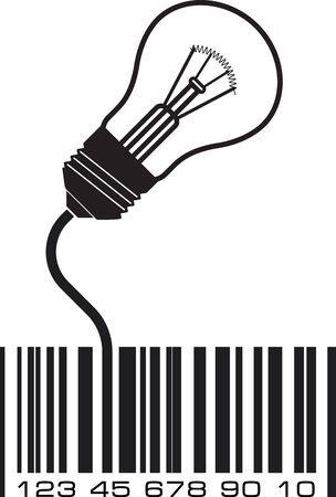 conceptual bulb: Conceptual icon with barcode and lighting bulb