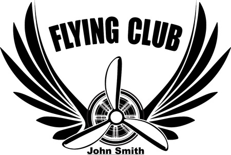 Flying club John Smith abstract design with pair of wings and  propeller