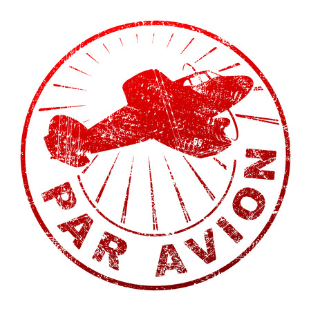 par avion: Par avion grunge style vector rubber stamp with silhouette of flying propeller aircraft