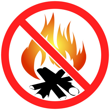 burnable: Prohibition sign icon no  bonfire vector illustration with fulcolor fire