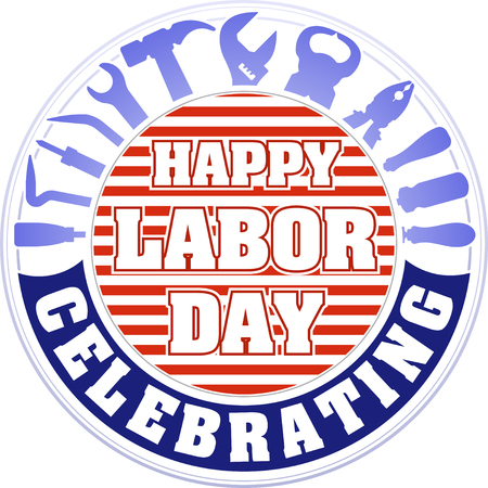labor strong: Happy labor day celebrating colorful round emblem with striped background and silhouettes of workers tools: hammer, screwdriver, pliers, file, soldering iron, pliers, awl, etc.